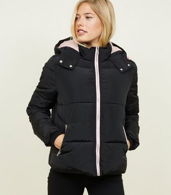 Black Contrast Zip Hooded Puffer Jacket