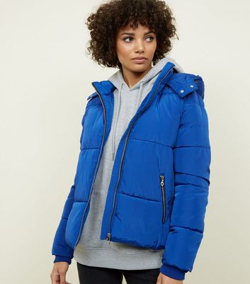 Blue Contrast Zip Hooded Puffer Jacket