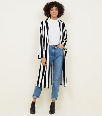Black and White Stripe Duster Jacket