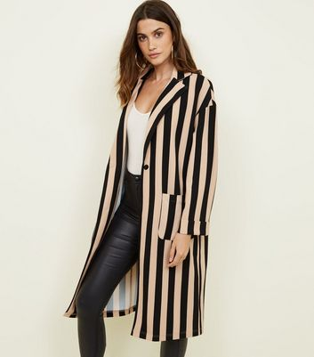 Brown Stripe Duster Jacket