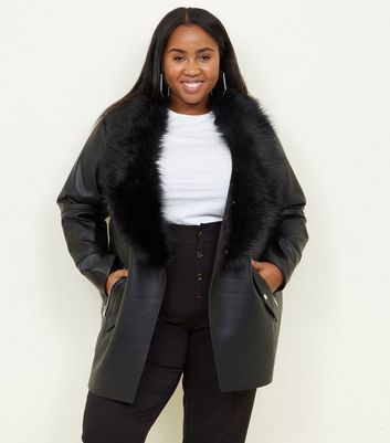 Curves Black Leather-Look Faux Fur Collar Jacket