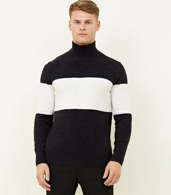 Navy Colour Block High Neck Jumper