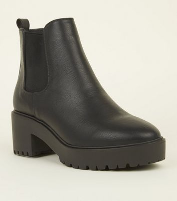 Black Leather-Look Chunky Chelsea Boots