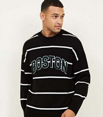 Black Stripe Crew Boston Appliqué Jumper