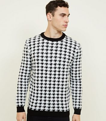 Black Houndstooth Check Crew Neck Jumper