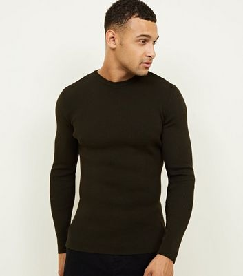 Khaki Muscle Fit Ribbed Jumper
