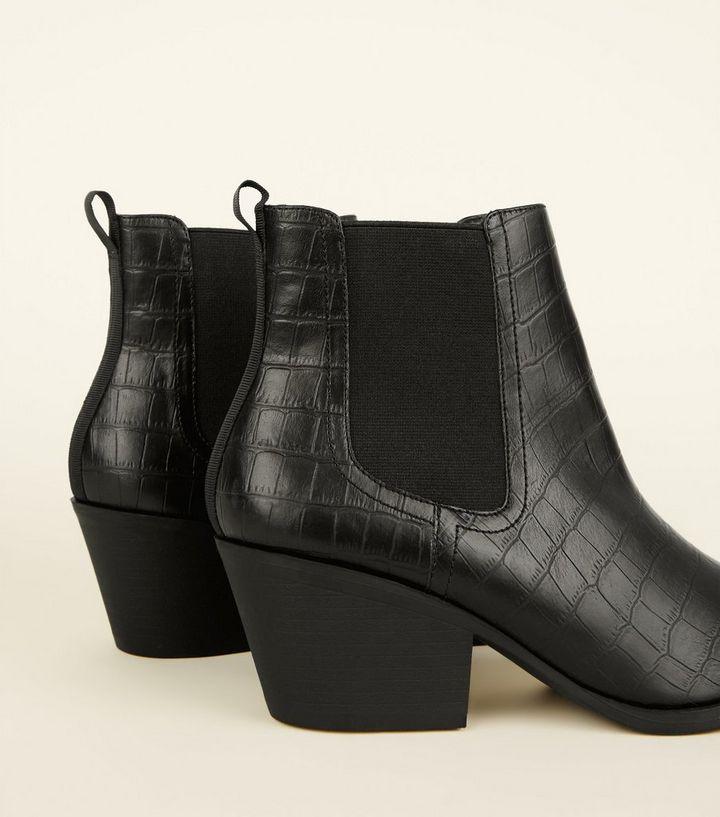 b0ff4f7cd ... Black Faux Croc Western Chelsea Boots. ×. ×. ×. Shop the look