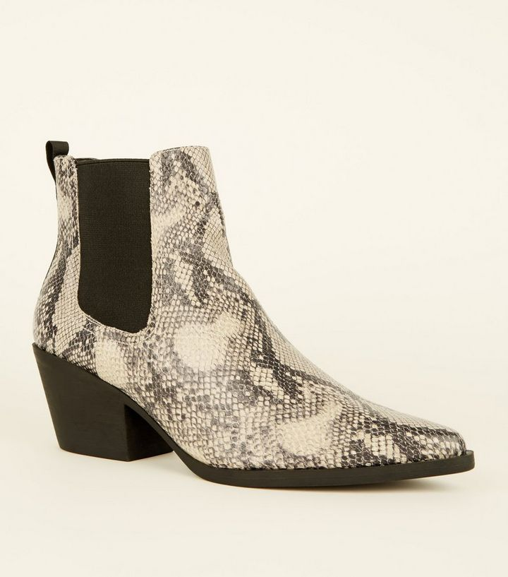 1e82a2c77b311 Black Faux Snake Western Chelsea Boots | New Look