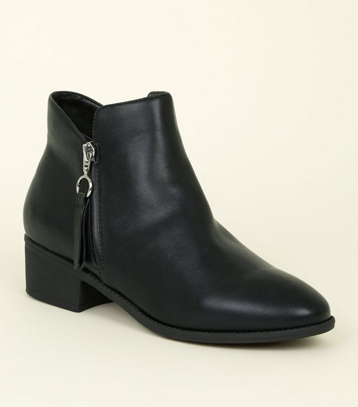 b6fb26a5b4f Black Zip Side Western Ankle Boots Add to Saved Items Remove from Saved  Items