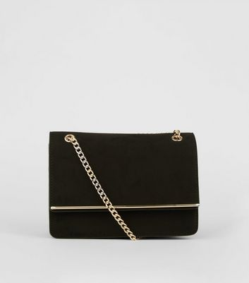 Black Suedette Bar Front Chain Shoulder Bag