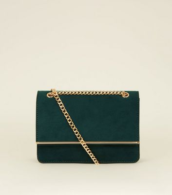 Dark Green Chain Strap Shoulder Bag