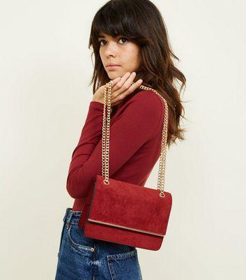 Burgundy Suedette Bar Front Chain Shoulder Bag New Look