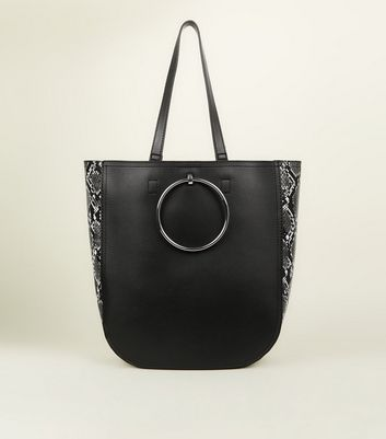 Black Faux Snake Panel Ring Front Tote
