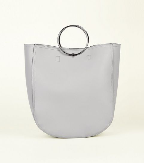 Grey Leather Look Ring Handle Tote Bag