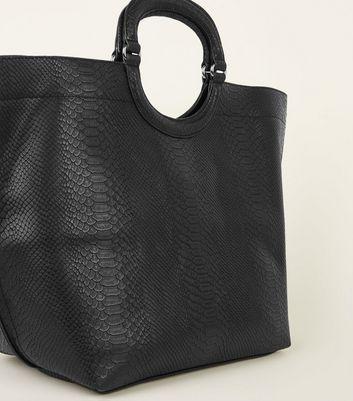 Black Faux Crocodile Print Tote Bag New Look