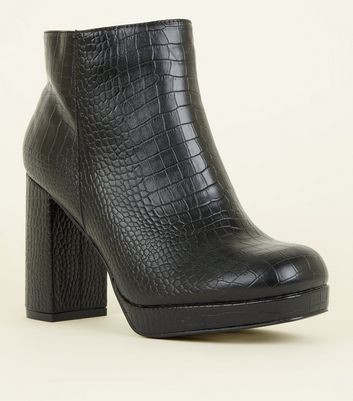 Wide Fit Black Faux Croc Block Heel Boots