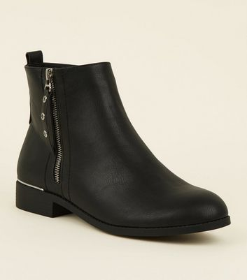 Wide Fit Black Eyelet Zip Side Flat Ankle Boots