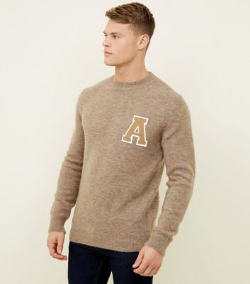 Stone Brushed A Initial Crew Neck Jumper