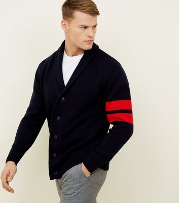 Navy Stripe Sleeve Shawl Collar Cardigan