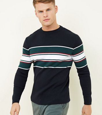 Navy Ribbed Colour Block Crewneck Sweatshirt