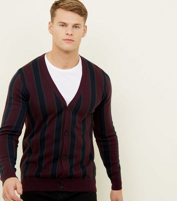 Burgundy Vertical Stripe Cardigan