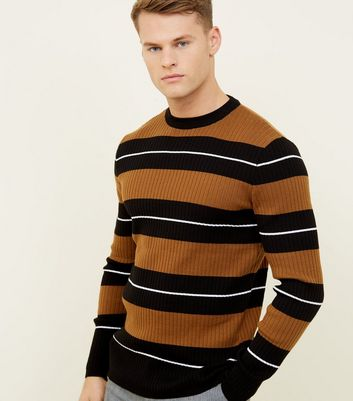Rust Stripe Ribbed Crew Neck Jumper