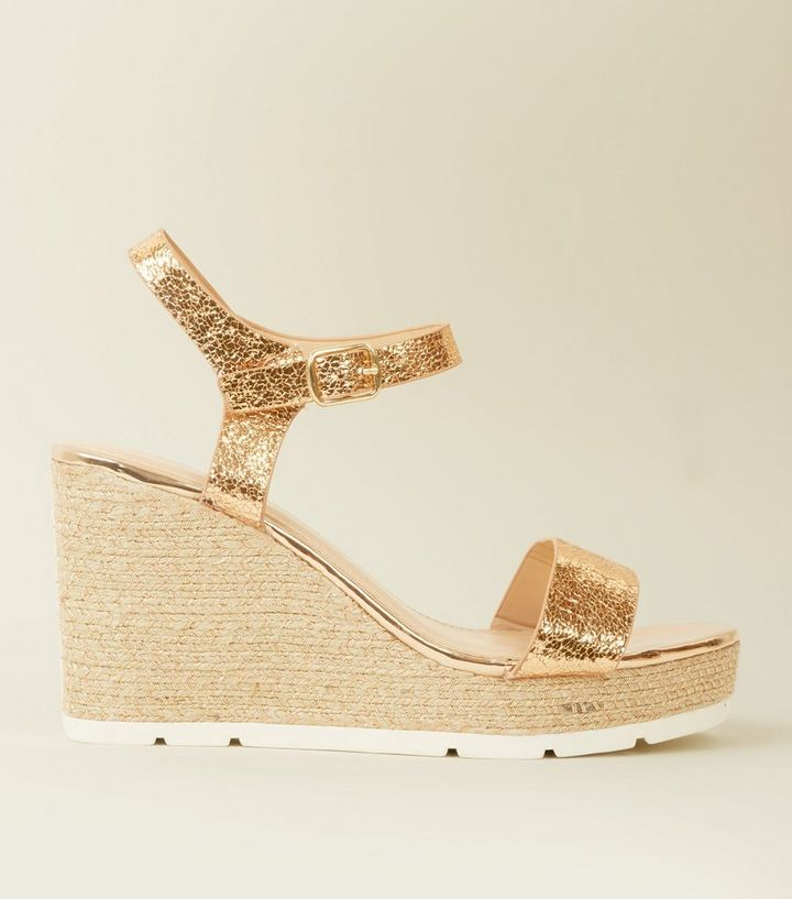 b9b42e4a7627 Rose Gold Metallic Woven Espadrille Wedges