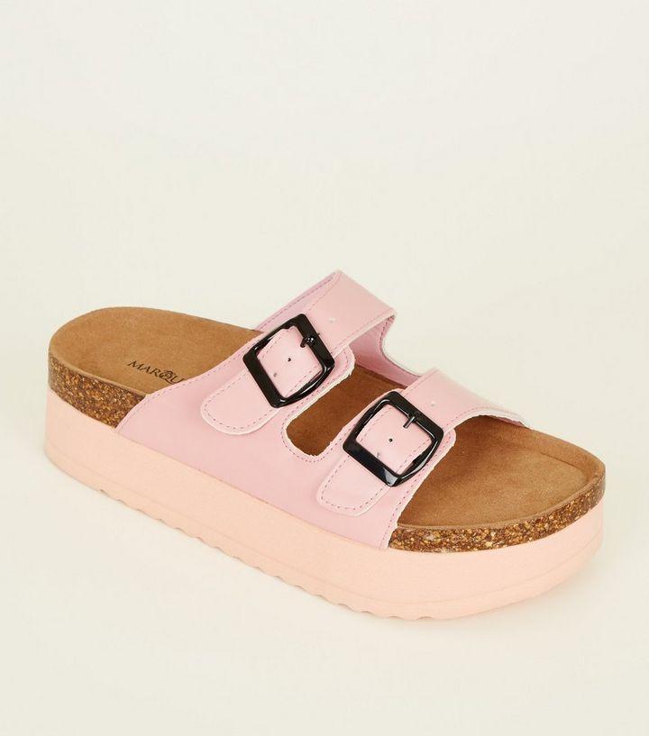 080c20e05916 Pink Double Buckle Flatform Footbed Sandals