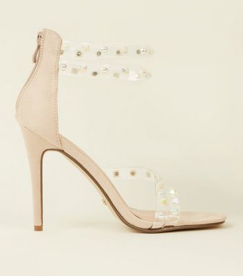 Nude Suedette Embellished Clear Strap Stiletto Sandals