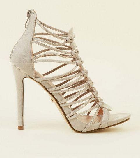 c6d0f9102211 ... Grey Suedette Strappy Eyelet Stiletto Sandals ...