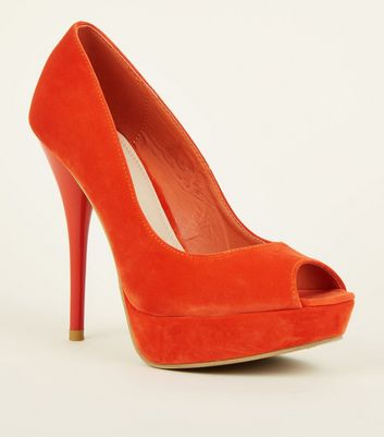 Bright Orange Suedette Peep Toe Platform Heels