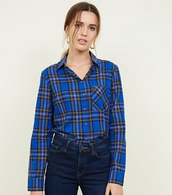 Blue Check Print Long Sleeve Shirt