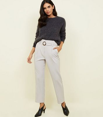 Pale Grey High Waist Buckle Trousers
