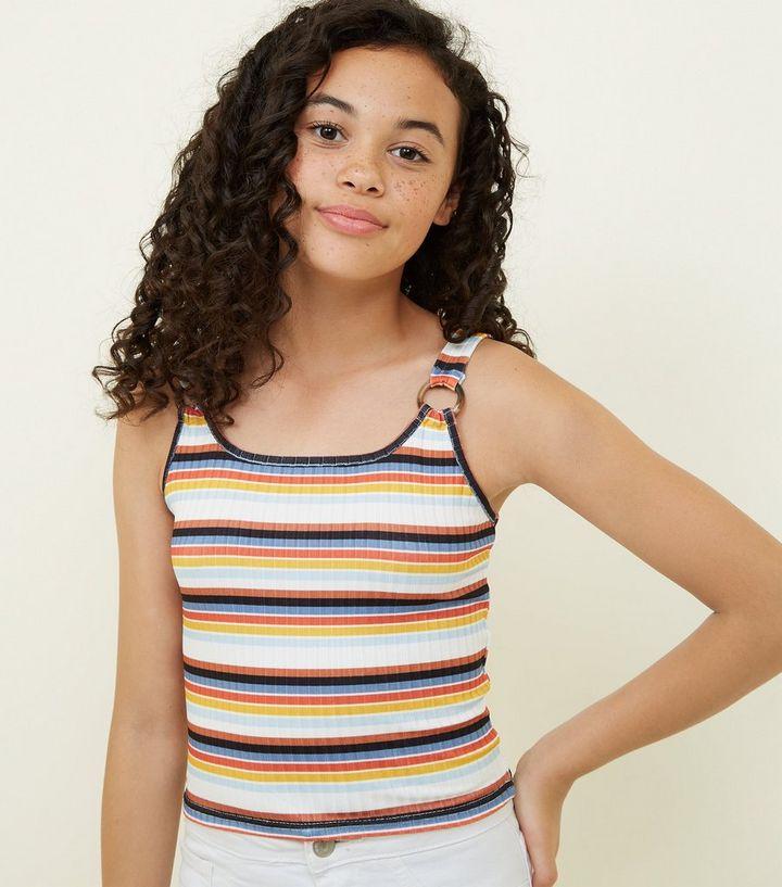 e1b4137197f3 Girls White Stripe Ring Strap Ribbed Cami | New Look