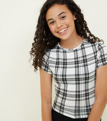 Girls White Check T-Shirt