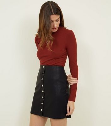 Black Leather-Look Button Through Skirt