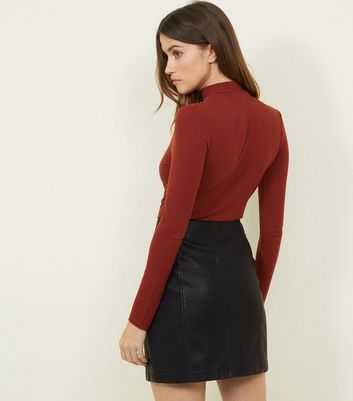 Black Leather-Look Button Through Skirt New Look