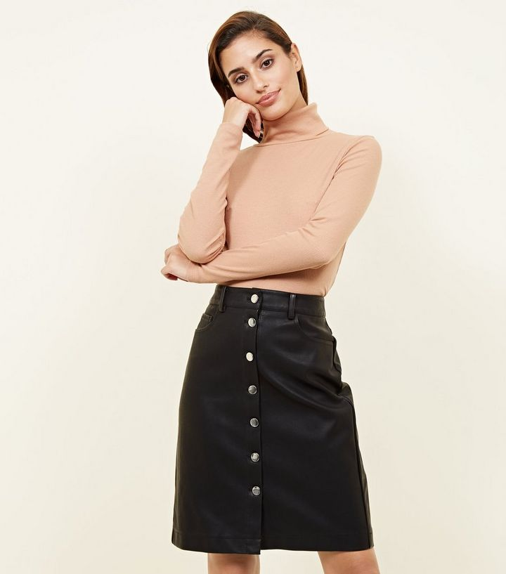 ffc62cc5b Black Leather-Look Button Front Mini Skirt | New Look