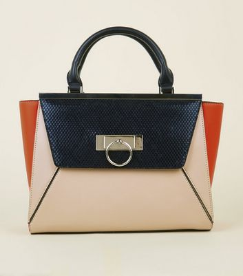 Orange Faux Crocodile Colour Block Tote Bag