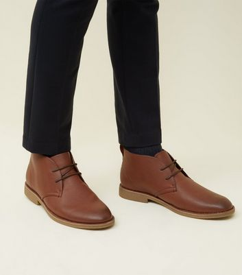 Tan Leather-Look Desert Boots