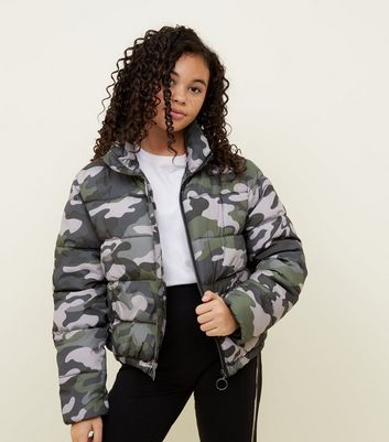 Girls Green Camo Print Puffer Jacket