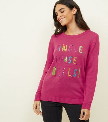 Bright Pink Sequin Jingle Slogan Jumper