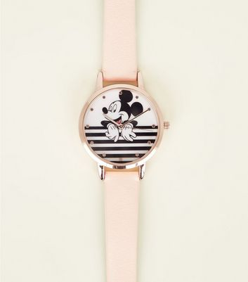 Rose Gold Disney Stripe Mickey Mouse Watch