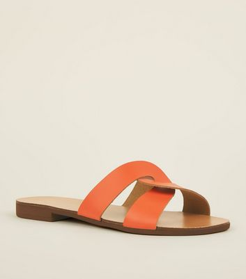 Wide Fit Orange Leather Twist Strap Sliders