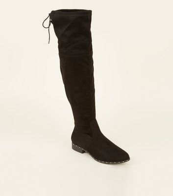 Black Extra Calf Fit Studded Sole Over the Knee Boots