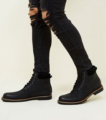Black Corduroy Trim Borg Lined Worker Boots