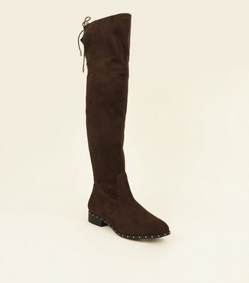 Wide Fit Khaki Stud Trim Over the Knee Boots