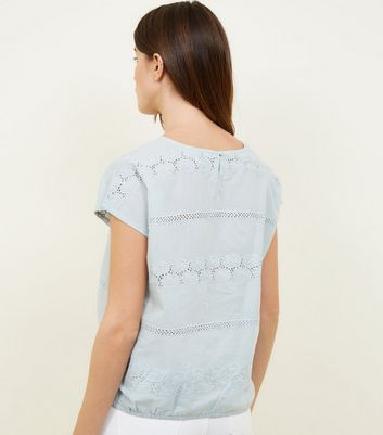 Apricot Mint Green Broderie Lace Top New Look