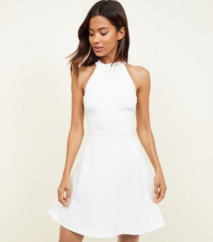 White High Neck Skater Dress  b6f08db07