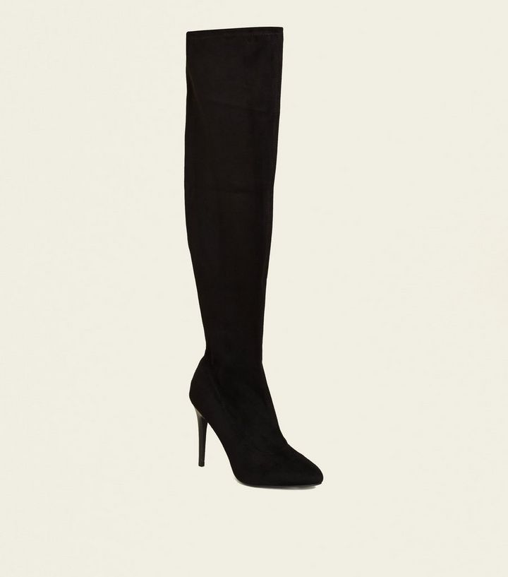 6e2dcd10b185 Wide Fit Black Suedette Almond Toe Over the Knee Boots